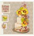 wedding cake design with sunflower and wild vector image