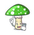 with phone green amanita mushroom character vector image vector image