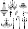 Chandelier and vintage lamp set vector image