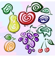 Mysterious fruits and berries are hand-drawn vector image