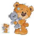 a brown teddy bear hugging vector image vector image