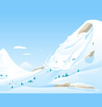avalanche in mountains vector image vector image
