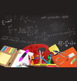 background back to school with aids and equations vector image vector image