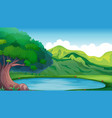 background scene with pond in the mountain vector image vector image