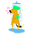 bathing dog cute dog takes a shower vector image