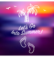 Blue ray sunset summer card invitation vector image