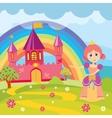 cartoon princess and fairytale castle vector image