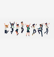cheerful multiracial business people celebrating vector image vector image