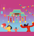 chinese lunar new year carnival people with dragon vector image vector image