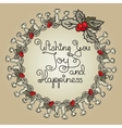 Christmas floral wreath with holly berry vector image