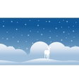 Christmas scenery deer of silhouettes vector image vector image
