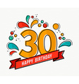 Colorful happy birthday number 30 flat line design vector image
