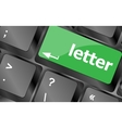 Computer keyboard with letter key - internet vector image vector image
