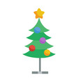 decorated with toys and star christmas tree icon vector image vector image