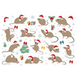 different mice christmas collection mouse poses vector image vector image
