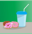 donuts and cup flat style vector image vector image