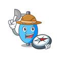 explorer ambu bag mascot cartoon vector image