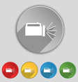 flashlight icon sign Symbol on five flat buttons vector image