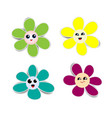 flower paper stickers with shadows on white vector image vector image