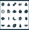 fruit icons set with melon figs horseradish and vector image