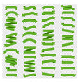 green ribbons set isolated transparent background vector image vector image