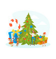 happy family celebrating winter holidays tiny vector image vector image