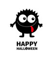 happy halloween monster black round silhouette vector image vector image