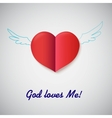 heart cut out paper with inscription god loves vector image vector image