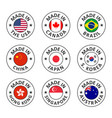 icon set made in usa canada brazil china vector image