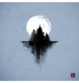 ink wash painting with three pine trees and big vector image vector image