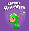 kid wearing comics costume halloween vector image