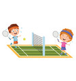 kids playing tennis vector image
