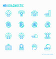 mri diagnostics thin line icons set vector image vector image