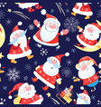 new years bright color pattern funny santa vector image vector image