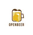 open beer logo beer glass and door logo icon vector image