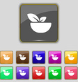 Organic food icon sign Set with eleven colored vector image vector image