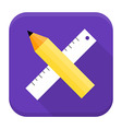Pencil and ruler app icon with long shadow vector image vector image