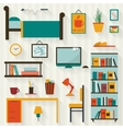 Room interior with furniture icon set vector image vector image