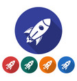 round icon of space rocket flat style with long vector image vector image