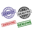 scratched textured genuine seal stamps vector image