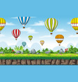 seamless nature background with hot air balloons vector image