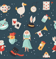 seamless pattern with symbols from alice in vector image vector image