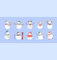 set cute christmas snowmen in hats and scarves vector image