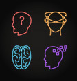 set neurological problems concept neon icons vector image