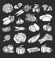 silhouette vegetables icons set retro style vector image