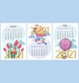 spring calendar march april may 2021 set funn vector image vector image