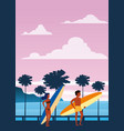 surfers man and woman on beach coast palm vector image vector image