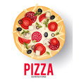 tasty pizza with tomato wurst olive mushrumes vector image