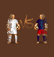 white and blue soccer players holding vintage vector image vector image