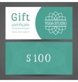 Yoga Studio Gift Certificate Template vector image vector image
